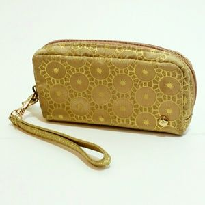 Stephanie Johnson gold metallic sun wristlet pouch